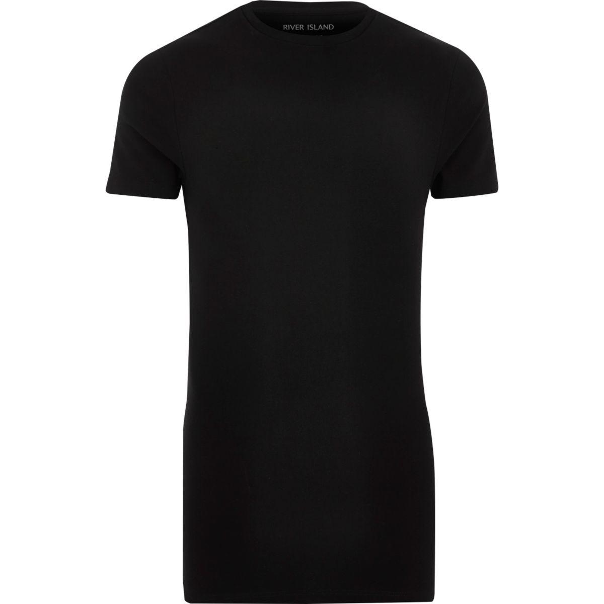 Black longline muscle fit T-shirt