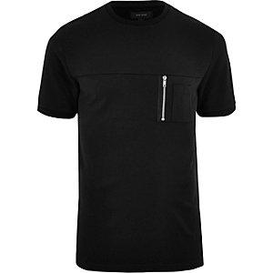 T-shirt noir ras-du-cou à poche zippée