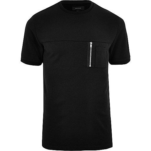Black crew neck zip pocket T-shirt