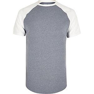Marineblauw aansluitend T-shirt met raglanmouwen