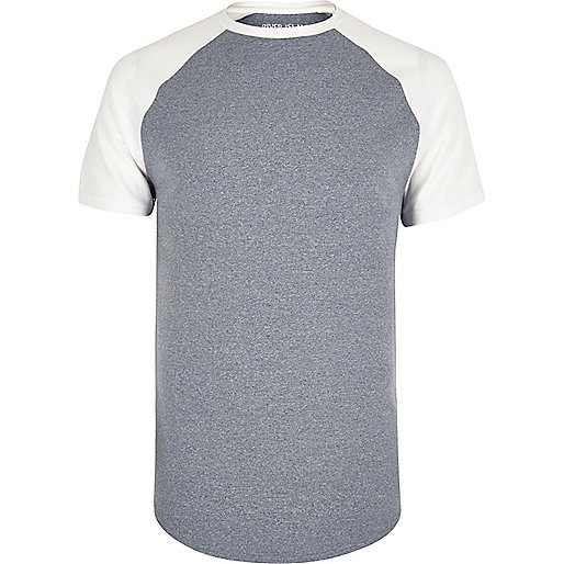 Navy blue muscle fit raglan T-shirt