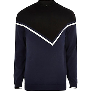 Navy blue block sweater
