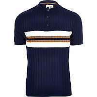 Navy ribbed chest stripe polo shirt