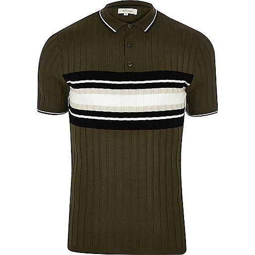 Green ribbed chest stripe polo shirt