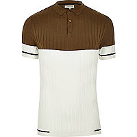 Brown ribbed block muscle fit polo shirt