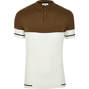 Brown ribbed colour block polo shirt