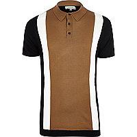 Brown color block polo shirt