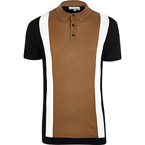 Brown color block polo shirt