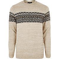 Stone Fair Isle knit jumper