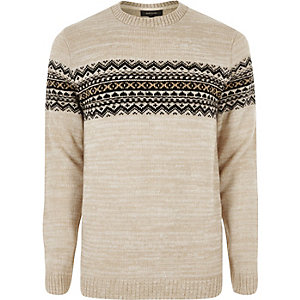 Stone Fair Isle knit sweater
