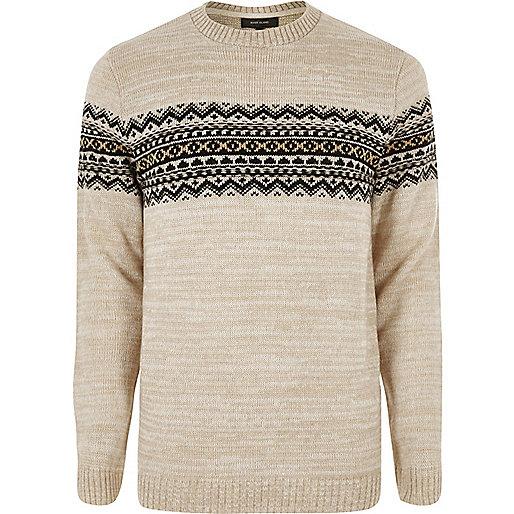 Stone Fair Isle knit sweater