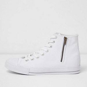 White canvas hi top sneakers