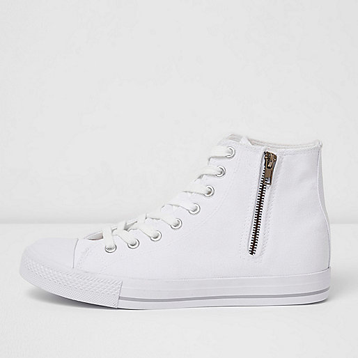 White canvas hi top trainers