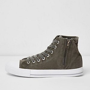Dark green canvas hi top trainers