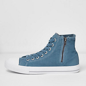Navy washed canvas hi top trainers