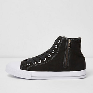 Black washed canvas hi top trainers