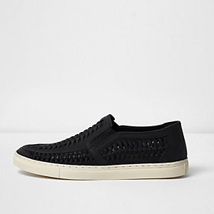 Black leather woven plimsolls