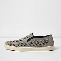Grey leather woven plimsolls