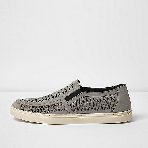 Grey leather woven plimsolls