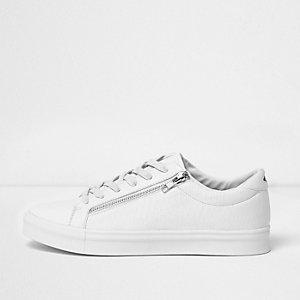 Witte sneakers met rits en krokodillenprint