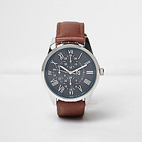 Braune Armbanduhr im Lederlook