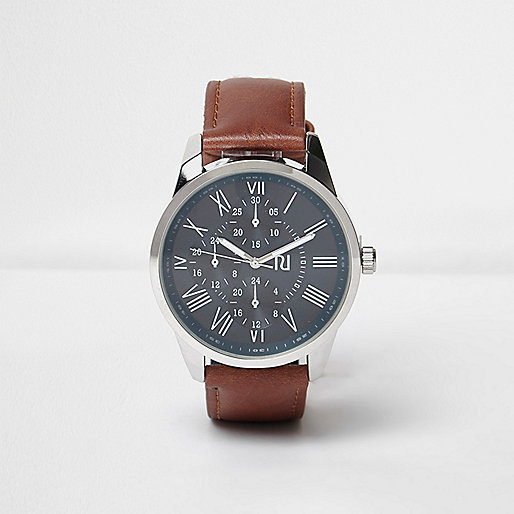 Brown leather look strap watch