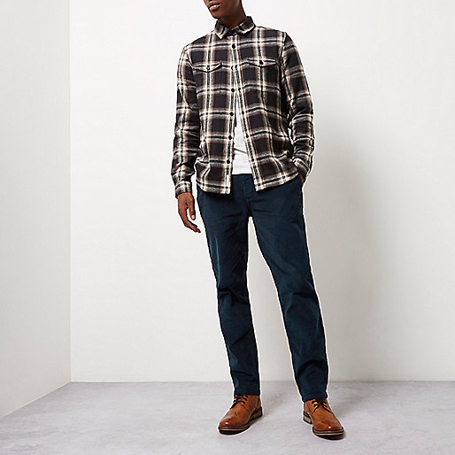 Blue slim fit corduroy chino trousers