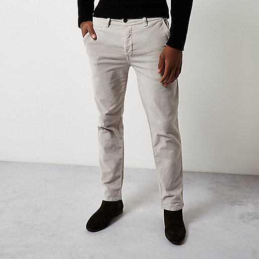 Stone slim fit corduroy chino trousers