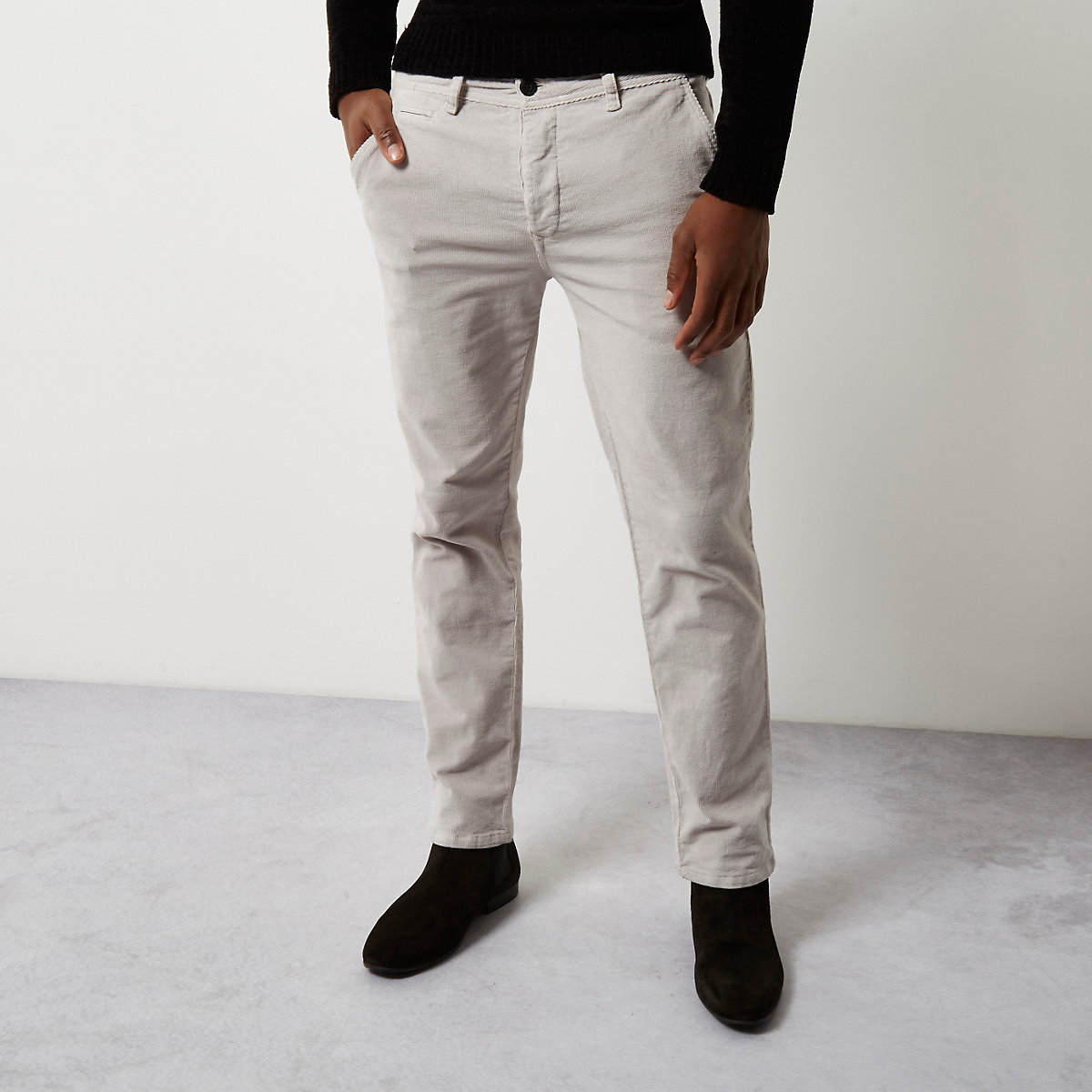 Stone slim fit corduroy chino pants