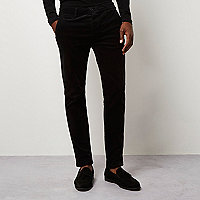 Black skinny corduroy chino pants
