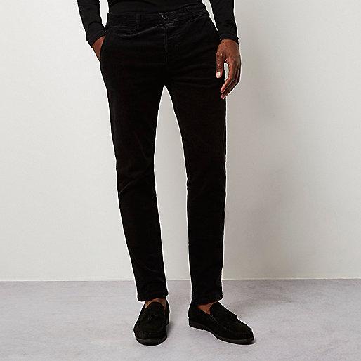 Black skinny corduroy chino pants