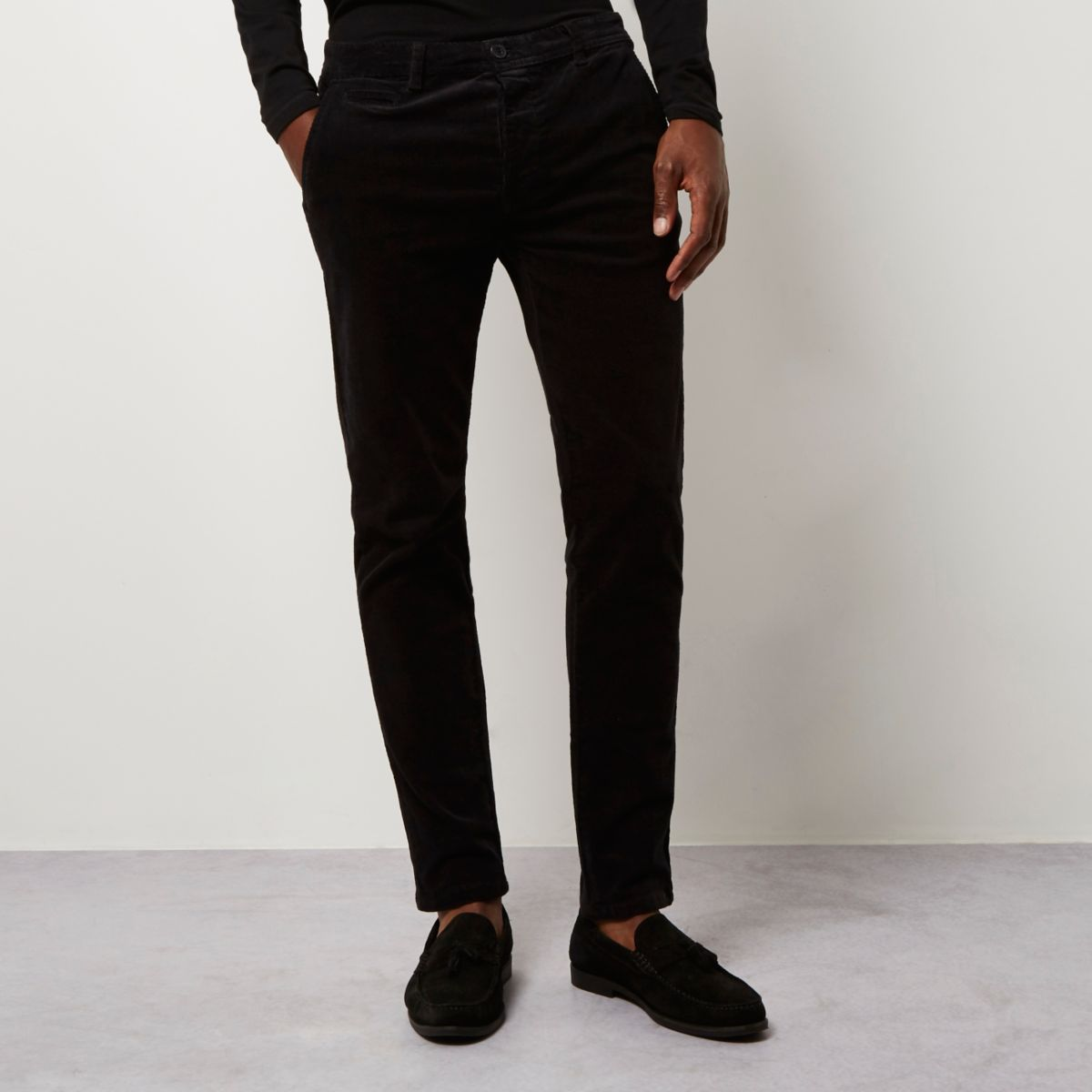 Black skinny corduroy chino trousers