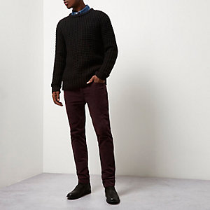 Red skinny corduroy chino trousers