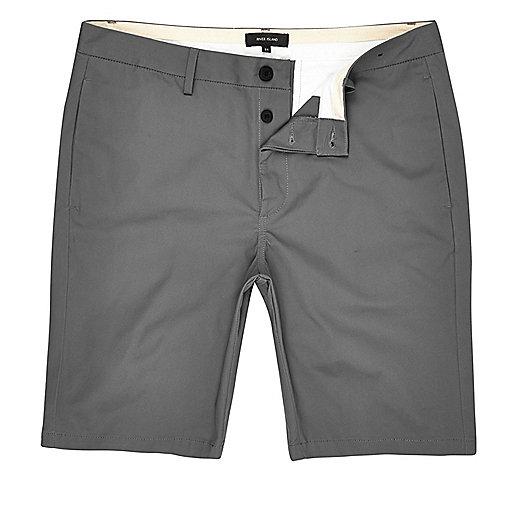 Grey slim fit chino shorts