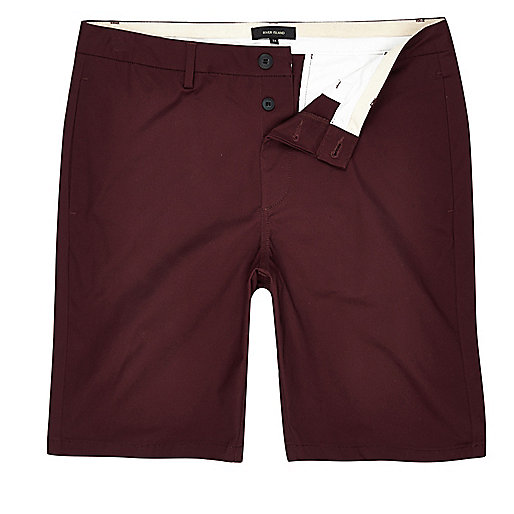 Burgundy slim fit chino shorts