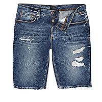 Dunkelblaue Jeansshorts im Used-Look