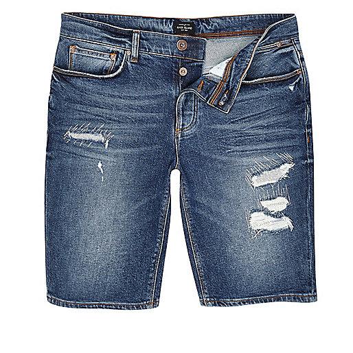 Dark blue wash distressed denim shorts