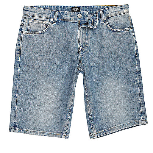 Blue stone wash distressed denim shorts