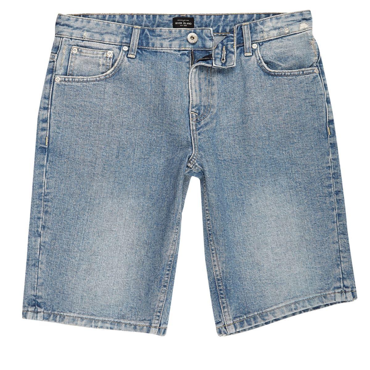 Short en jean usé à délavage bleu