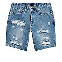 Mid blue ripped slim fit denim shorts