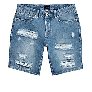 Blaue Slim Fit Jeansshorts im Used-Look
