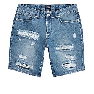 Short en jean slim bleu moyen déchiré