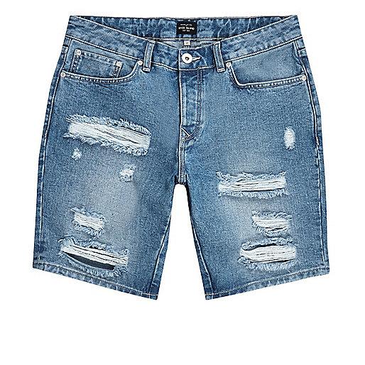 Mid blue ripped slim fit denim shorts