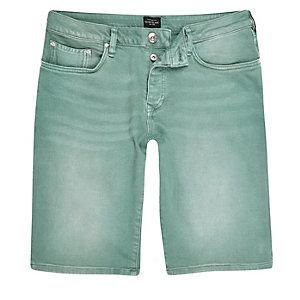 Grüne Slim Fit Jeansshorts