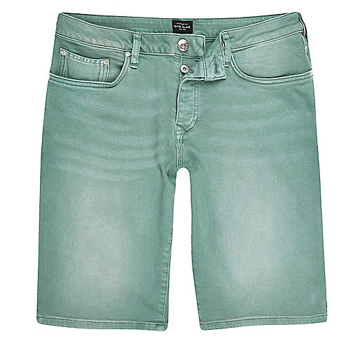 Green wash slim fit denim shorts