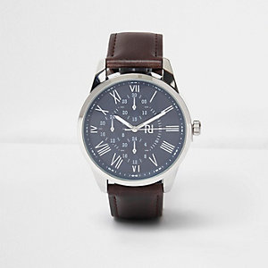 Dark brown leather look strap watch