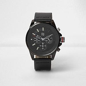 Schwarze Sportarmbanduhr