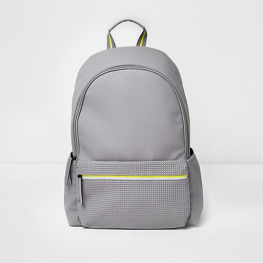 Grey textured pocket backpack