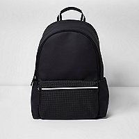 Black textured pocket backpack