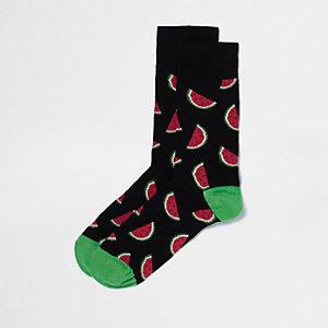 Schwarze Sneakersocken mit Wassermelonenmotiv